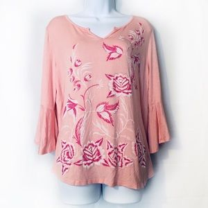 B.L.E.U Pink Floral Bell Sleeve Tunic